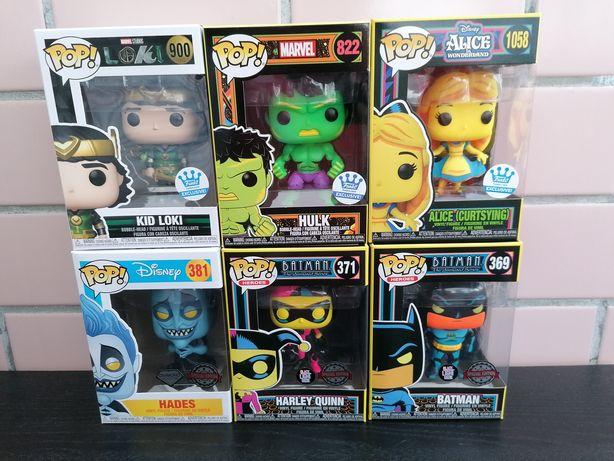 Funko pop black light alice, hulk, batman, Harley Quinn, loki e Hades