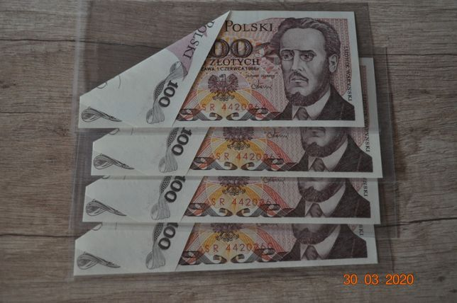 Promocja !!! DESTRUKT - motylek 100 zł 1988 s SR UNC !!!