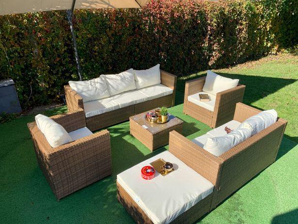 komplet technorattan Torino zestaw beżowoszary fotel sofa pufa