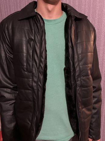 Мужская кожанка, куртка зимняя, кожаная куртка, демисезонная
