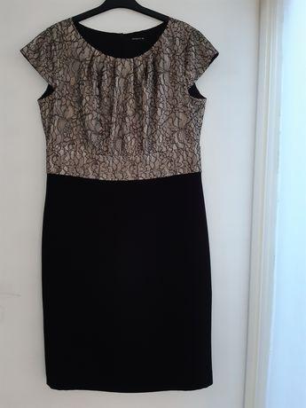 Sukienka beżowo-czarna