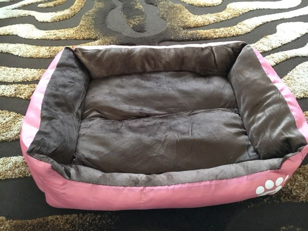 Лежак, кровать, диван для собак, розовый и серый