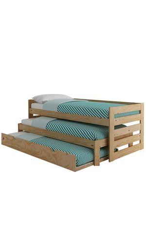 Łóżko piętrowe 3 osobowe 3 materace 200x90  kolor popiel- MOCNE
