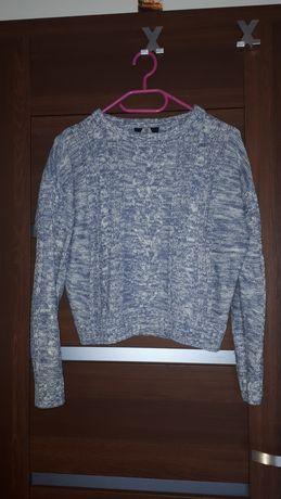 Sweter wełniany niebiesko-biały