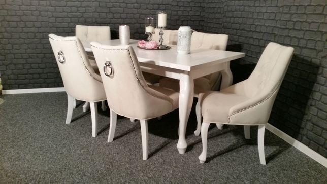 Piękny stół rozkładany 140x90/210 biały ludwik elegancki