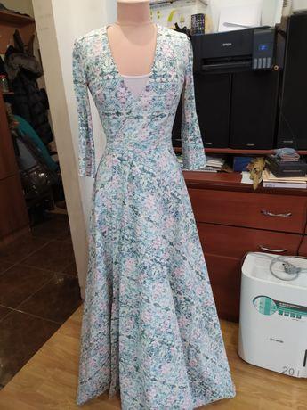 Платье макси , в пол, на запах.