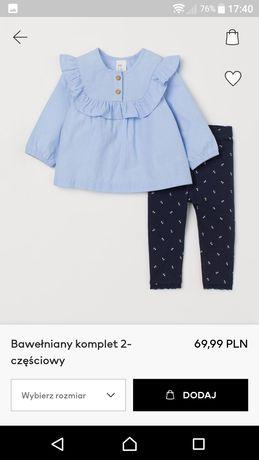 Bawełniany komplet H&M, 2-częściowy dla dziewczynki, rozmiar 68, NOWY