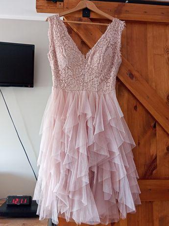 Sukienka koronkowa rozmiar M brudny beż 38