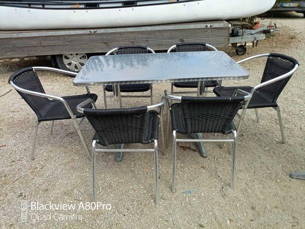 Conjunto de mesa de jardim com mesa e 6 cadeiras