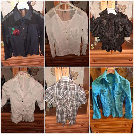 Женские рубашки белая , серая , блузка , синяя в клетку короткий рукав