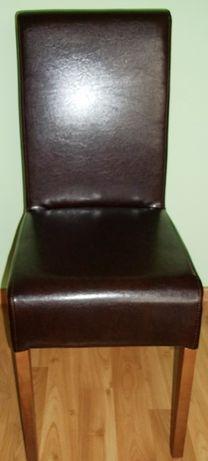 Krzesła z ekoskóry brązowe - dwie sztuki