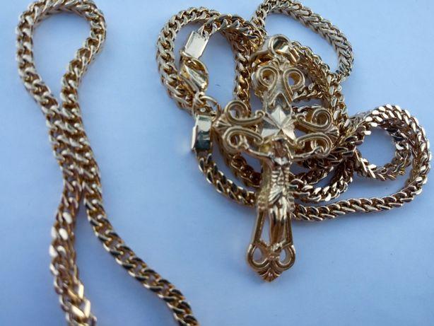 Złoty łańcuszek z krzyżykiem,Pozłacany łańcuszek,pozłacana bransoletka