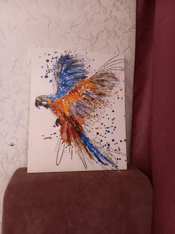 Готовая картина попугай