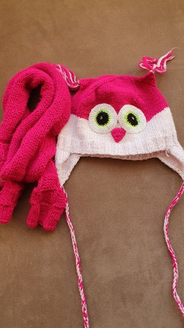Детская шапка Совушка+шарфик
