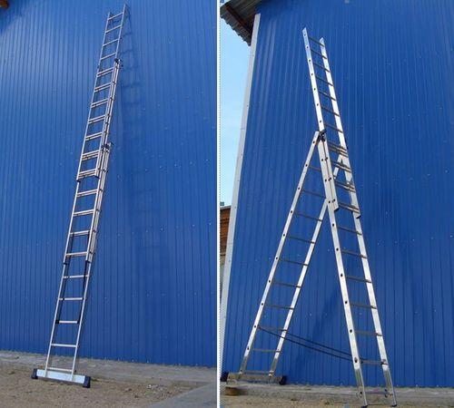 Новая NEW 9.5 метровая лестница стремянка 3x12 ступеней KRAFT German