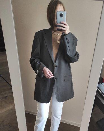 Пиджак оверсайз в мужском стиле серый блейзер жакет