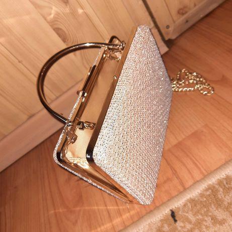 Nowa, piękna, złota torebka