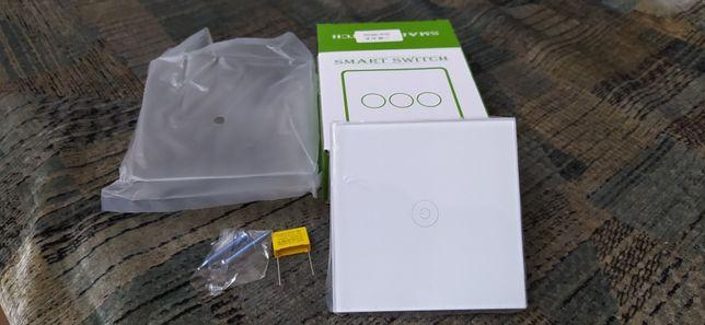 Сенсорный выключатель однополюсный (на одну линию). Белый