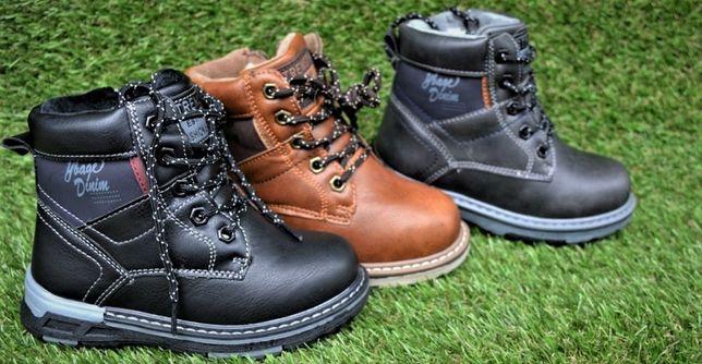 Зимние детские ботинки аналог Timberland черные серый корич 29 - 34