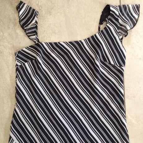 Sukienka biało czarna paseczki ogony 42/44 zara