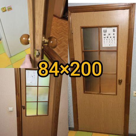Дверь межкомнатная с коробкой /стекло/ дверь для санузла