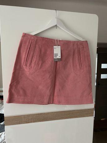 Nowa z metka spódnica ze skóry naturalnej h&m roz 44 różowa