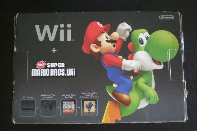 Nintendo Wii NTSC completa jogo Mario + caixa manuais