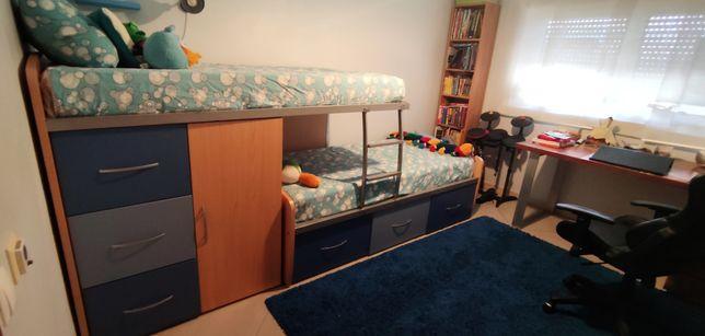 Beliche com gavetões e armário