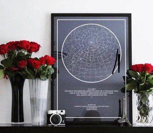 Индивидуальная карта звездного неба, подарок любимым