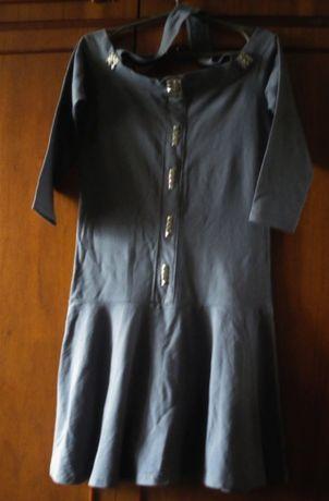 Платье Lit Play р.44 р.46 серое хлопок металик трикотаж плотный коттон