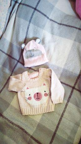 Шапка свитер худи свитшот ушки котёнок розовый
