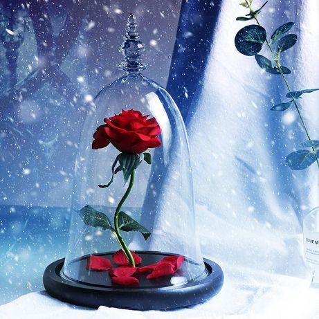 Flores artificiais da bela e a fera, rosa vermelha, rosa em vidro, dom