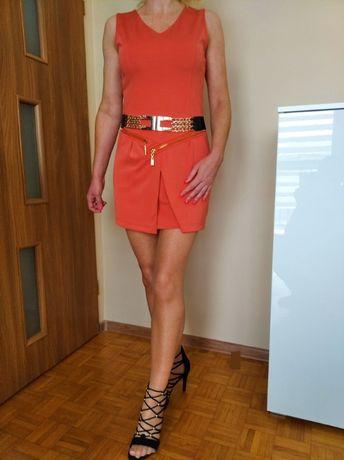BOSKA sukienka mini pomarańcz złote zamki M/L glamour GRATIS WYSYŁKA