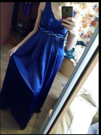 Платье вечернее в пол сарафан черничного цвета