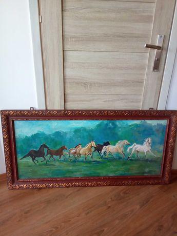 Obraz olejny na płótnie. Henryka Stronk. Konie w galopie. 135 cm.