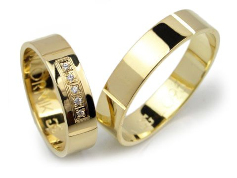 Goldrun Złote Obrączki Ślubne L095 Para Bezszwowe
