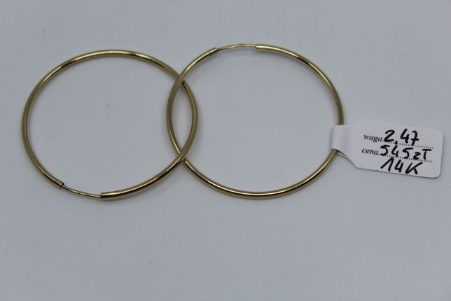 Złoto/Złote kolczyki 585 14K 2,47 gram Nowe Koła Okazja