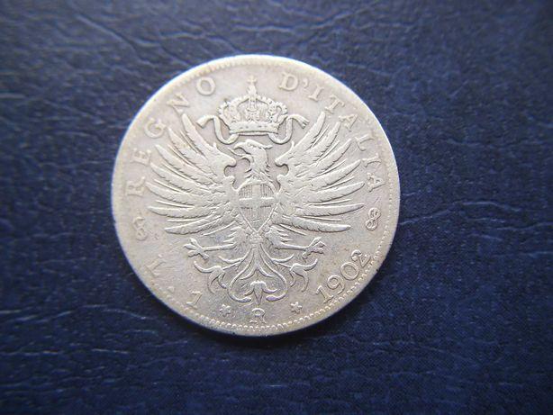 Stare monety 1 lir 1902 Włochy srebro / 2