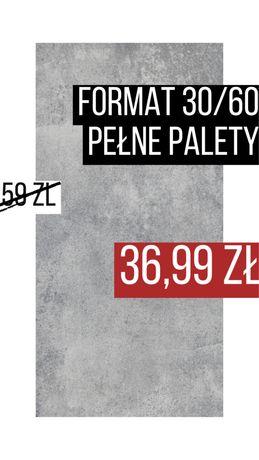 Płytkie podlogowe scienne GRES 30/60 Chromatic Grys Paradyz PALETY 51m