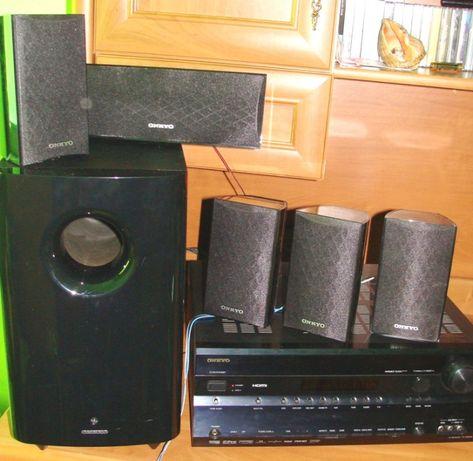 Kino domowe amplituner Onkyo TX-SR606 + głośniki i subwoofer SKS-HT528