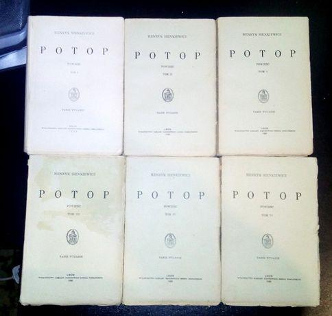 «Потоп» Генрика Сенкевича, польское издание 1930-х гг. 6 томов