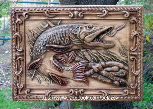 Щука . Панно , 3D картина из дерева резная , подарок рыбаку
