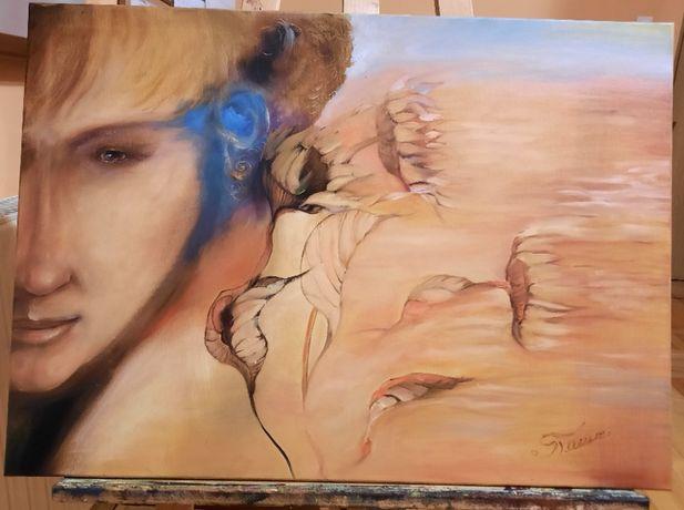 Obraz olejny z twarzą, na płótnie 50 x 70 cm, na zamówienie