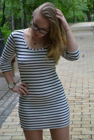 Стрейч платье в полоску