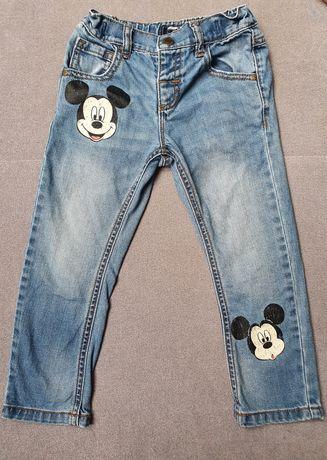 Next jeansy spodnie jeansowe myszka Mickey Disney 98