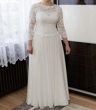 Suknia ślubna ,śmietankowa,  gorset