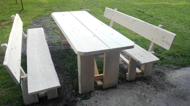 Meble ogrodowe stół + 2 ławki drewniane