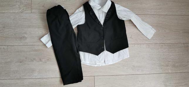 Garnitur czarny H&M, chrzest, koszula, spodnie, kamizelka rozmiar 92