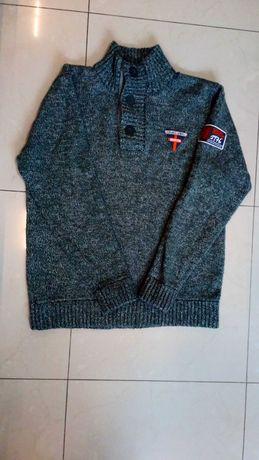 Sweter męski XL szary melanż zadbany ciepły SMOG New Yorker