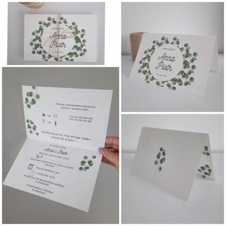 Zaproszenia ślubne eukaliptusowe.